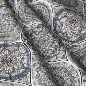 Декоративная ткань с абстрактным рисунком серо-синего цвета: Испания.