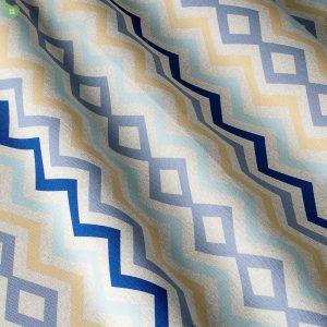 Декоративная ткань с зигзагами и ромбами сине-голубого цвета на белом: Испания, ширина 280, цена 640 грн. - новая 320 грн.