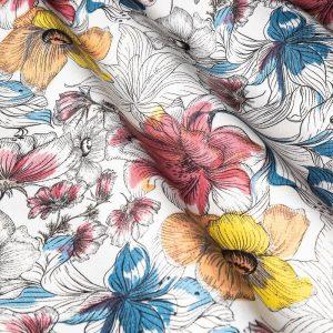 Декоративная ткань с крупными желтыми и бордовыми цветами на белом фоне: ширина 280, цена 480 грн. - новая 160 грн.