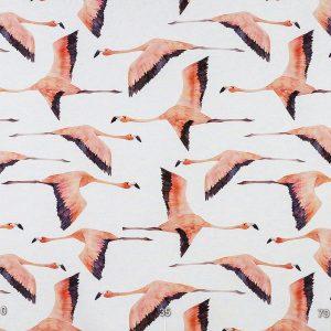 Декоративная ткань с крупными розовыми птицами на белом фоне: ширина 280, цена 640 грн. - новая 320 грн.