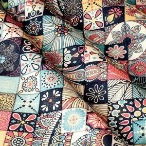Декоративная ткань с мелкой узорчатой плиткой бежевого цвета по типу нашивок: Испания, ширина 280, цена 670 грн. - новая цена 330 грн.