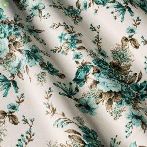 Декоративная ткань с цветочными узорами серого цвета на широких полосках бежевый фон: Испания, ширина 180, цена 450 грн. - новая 220 грн.