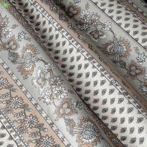 Декоративная ткань с цветочными узорами серого цвета на широких полосках бежевый фон: Испания, ширина 280, цена 580 грн. - новая 180 грн.