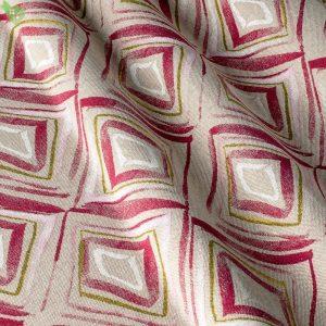 Декоративная ткань ромбы с неровными гранями бордового цвета на сливочном фоне: Испания, ширина 280, цена 640 грн. - новая 220 грн.